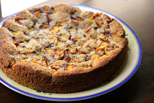 Peach Cake with Almonds