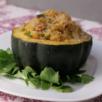 Vegetarian Thanksgiving — Acorn Squash with Quinoa and Hazelnuts