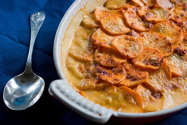 Creamy, Spicy, Smoky Sweet Potato Gratin - Sweet Potatoes for Grownups