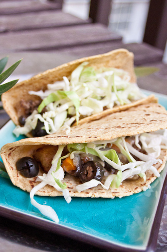 Picadillo tacos with California Olives