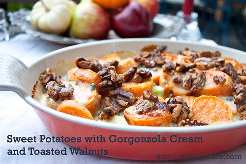 Sweet Potatoes with Gorgonzola Cream and Toasted Walnuts #Thanksgiving