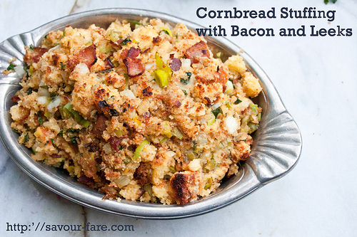 Crockpot Cornbread Stuffing with Bacon And Leeks #Thanksgiving