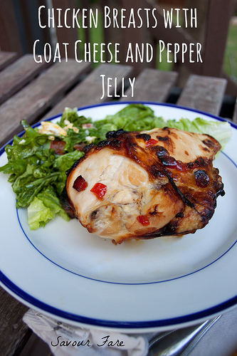 Chicken Breasts with Goat Cheese and Pepper Jelly