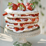 Swedish Midsummer Strawberry Meringue Layer Cake