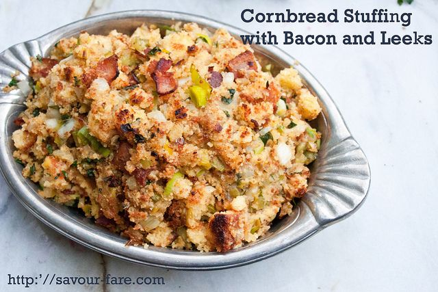 Crockpot Cornbread Stuffing with Bacon and Leeks