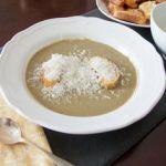 Mushroom Leek Soup with Garlic Croutons