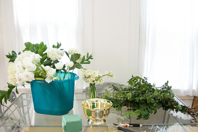Valentines Day Green and White Floral Centerpiece