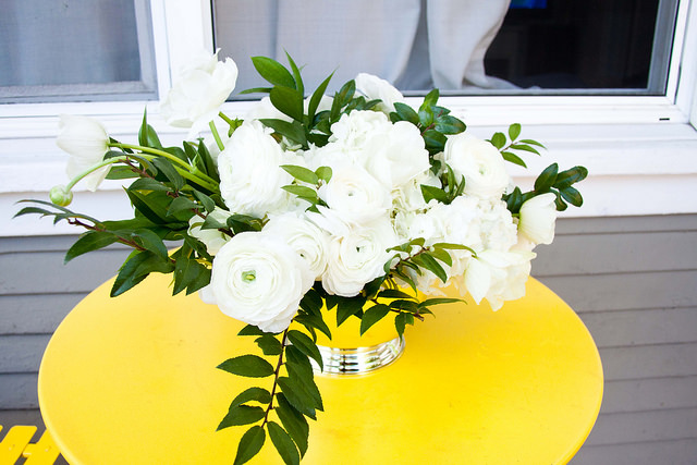 Green and White Floral Arrangement, Valentines Day Flowers